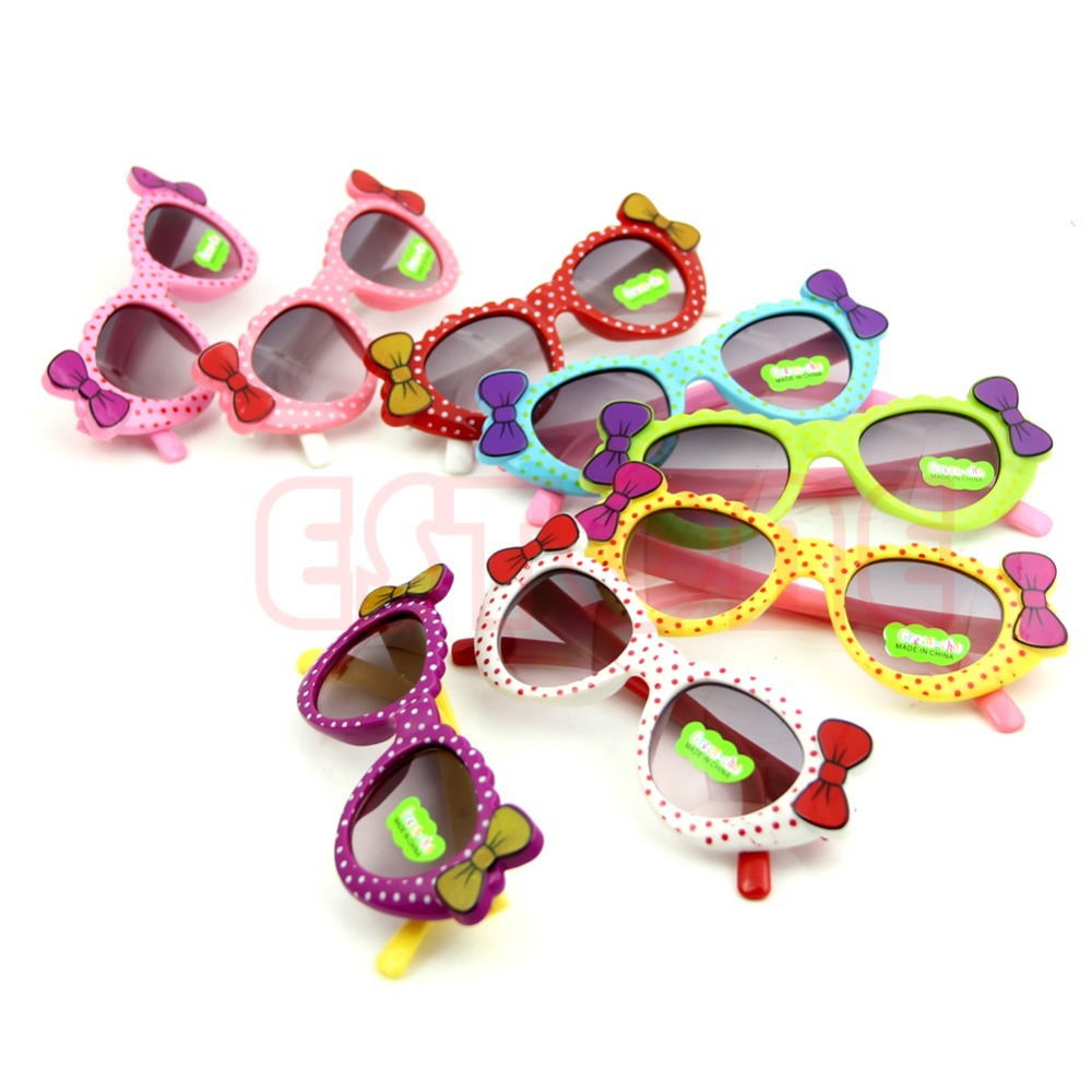 Cute Baby Boys Girls Kids Sunglasses Glass Child Goggles Bow Eyewear UV 400
