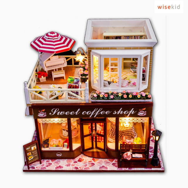 Us 4513 W277 Small Wooden Store Miniaturesweet Coffee Shop Diy Toy For Kid And Friend In Model Building Kits From Toys Hobbies On