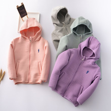 2016 new spring autumn Girls Kids Boys Bunny embroidery hooded  jacket coat  comfortable cute baby Clothes Children Clothing 10W