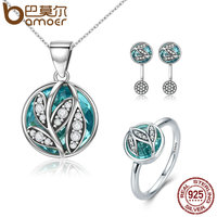 BAMOER 3 Sizes Authentic 925 Sterling Silver Jewelry Set Green Crystal CZ Tree Of Life Jewelry