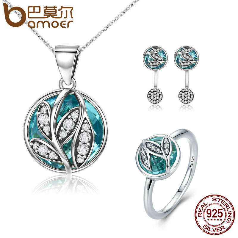 BAMOER auténtico juego de joyas de plata de ley 925 cristal verde CZ Árbol de la vida joyería nupcial conjunto de plata esterlina regalo de Navidad
