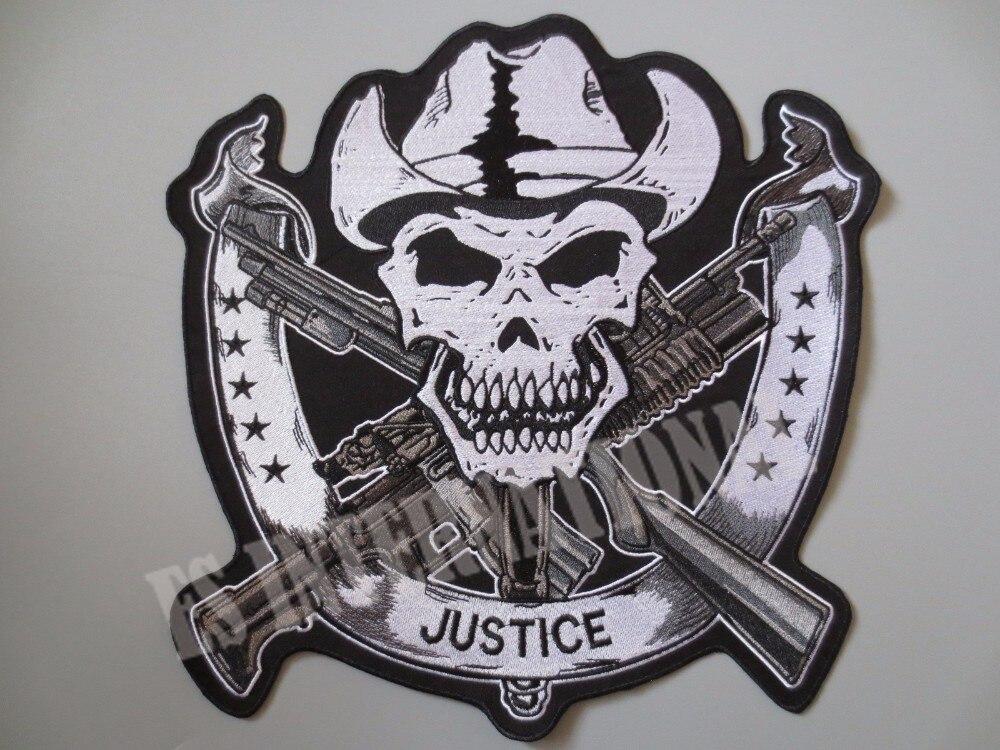 11,4 palců lebka dvojitá děla JUSTICE velké vyšívací patche pro vestu bundy zadní vesta motocyklový klub biker MC šít