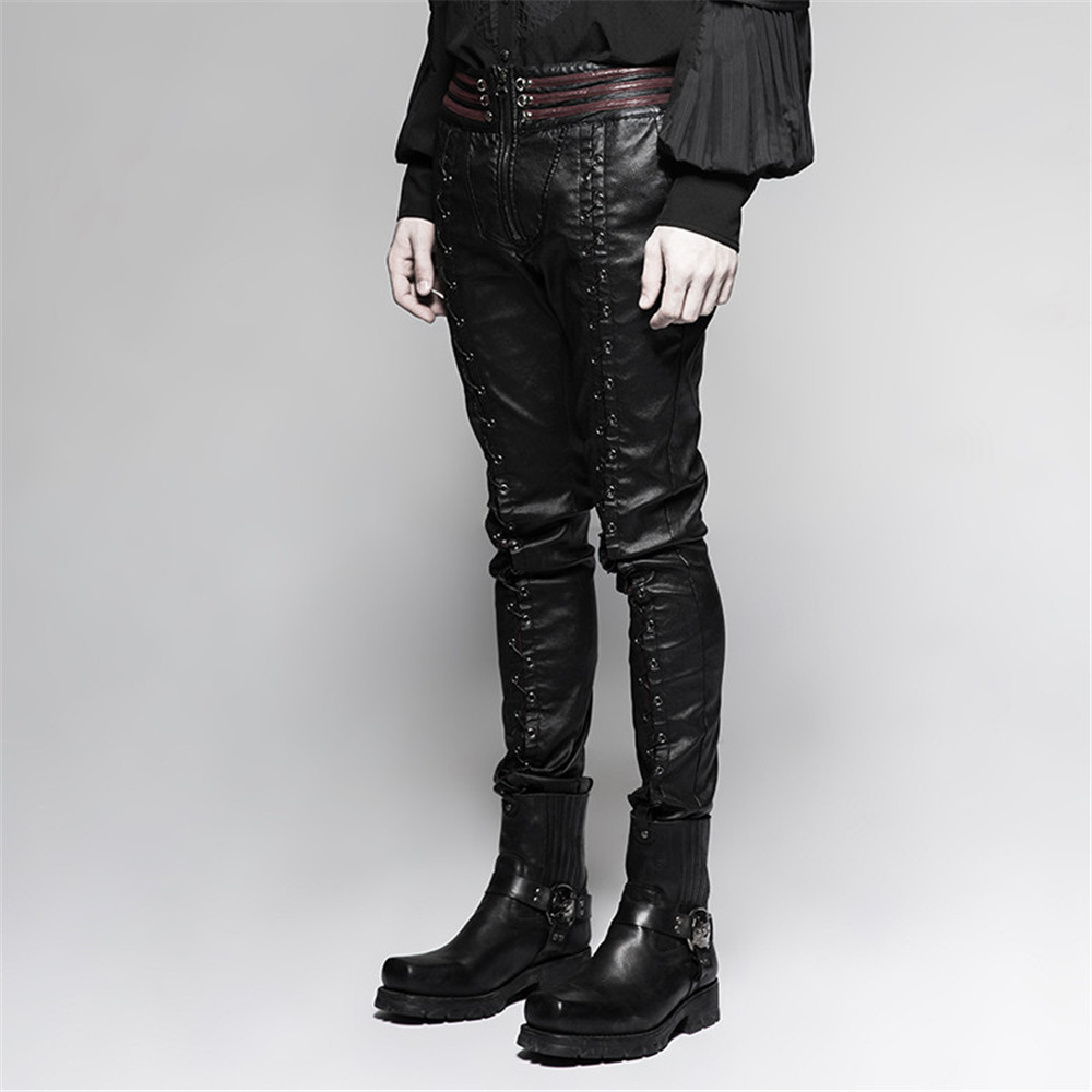 Black Steampunk Tight Stretchy Leather Trousers