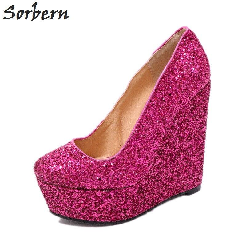 Sur Glissent Talons Rouge Haute Rose Diy Wedge Pompe Femmes Blanc Talon Sorbern Dames Glitter Travail Chaussures Parti 8UAq01w