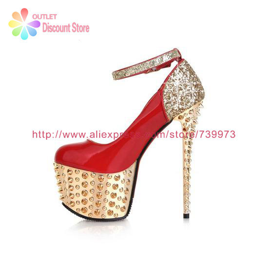 54d0b0de11bc4 16 CM 6 inch Ultra High Heels With Rivets For Wedding Party Hochzeitsschuhe  Golder Shoes Ankle Strap Heels Buckle Sapatos HXS033-in Women s Pumps from  Shoes ...