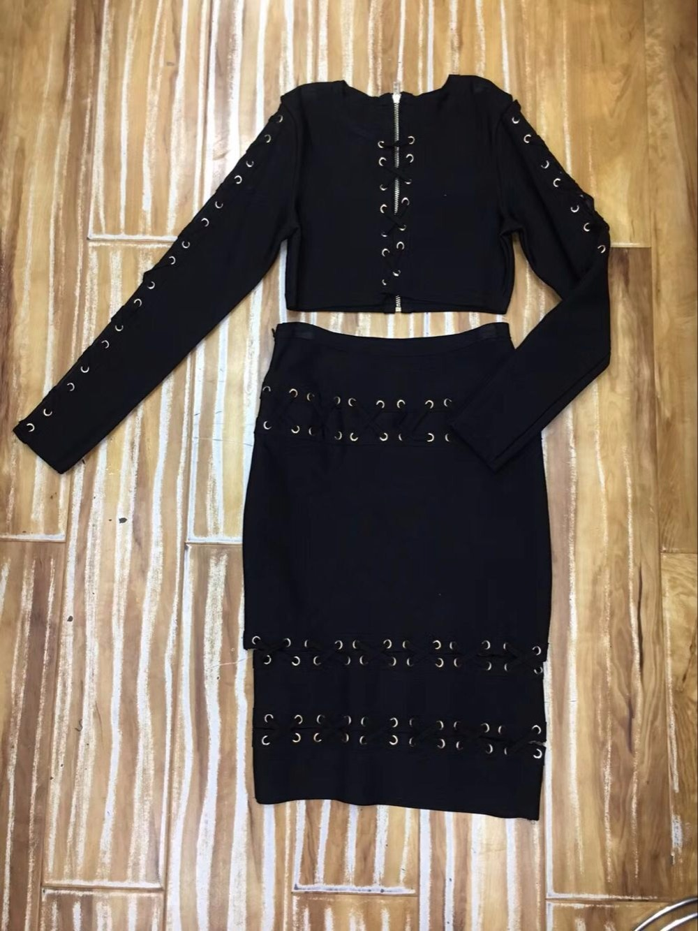 Robe Black Femmes Gros Dropshipping Nouvelles De Bandage Robes Pièces Deux Lace Rayonne Cut Soirée Ensembles 2018 Out En Up fqCwEAx