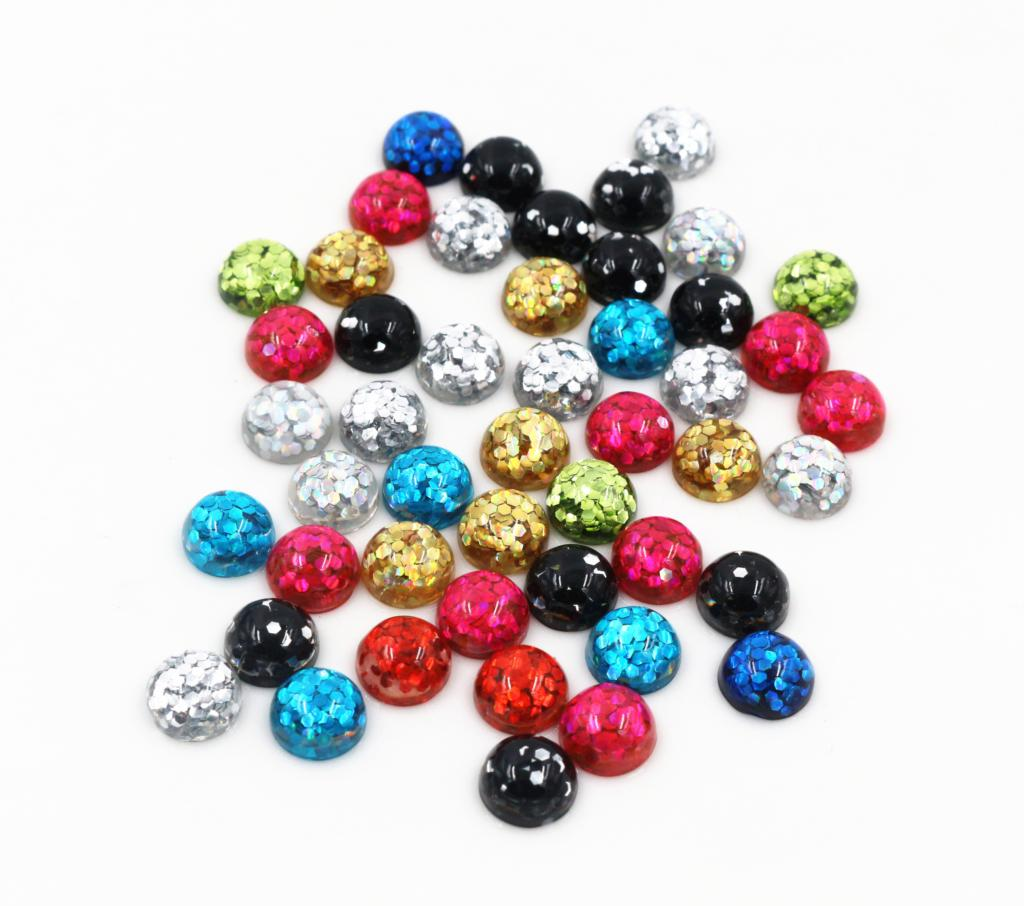8mm 40pcs/lot  Mix Colors Bright Wafer Flat Back Resin Cabochons Cameo