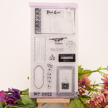 Vintage Airplane Post Card Music Transparent Clear Silicone Stamp for Seal DIY Scrapbooking Photo Album Clear Stamp Sheets vintage hanger design transparent clear silicone stamp seal for diy scrapbooking photo album paper card rz 086