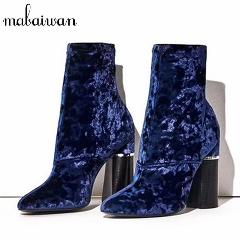 Mabaiwan Blue Velvet Women Ankle Boots Chunky High Heels Back Zipper High Boots Women Pumps Botines Mujer Winter Sock Botas