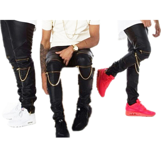 Alta cantidad PU imitación cuero hombres Skinny Justin Bieber ropa ajustado  Fit Hip Hop Hiphop pantalones 61aef57546a