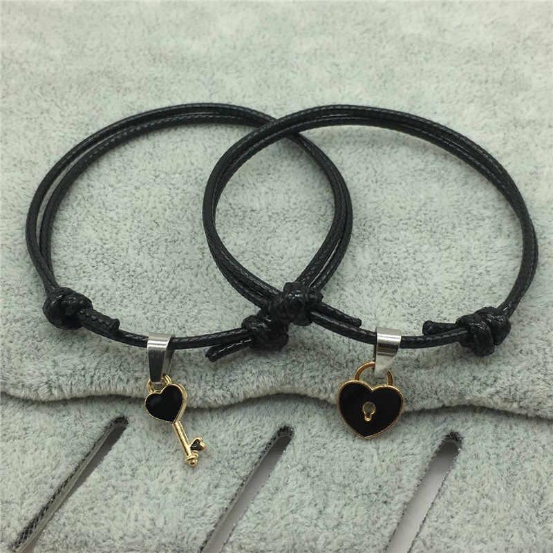 2 個ロマンチックなカップルのブレスレット調節可能なロープチェーンキーロックハートブレスレットセット女性シンプルなファッションの女性のアクセサリー