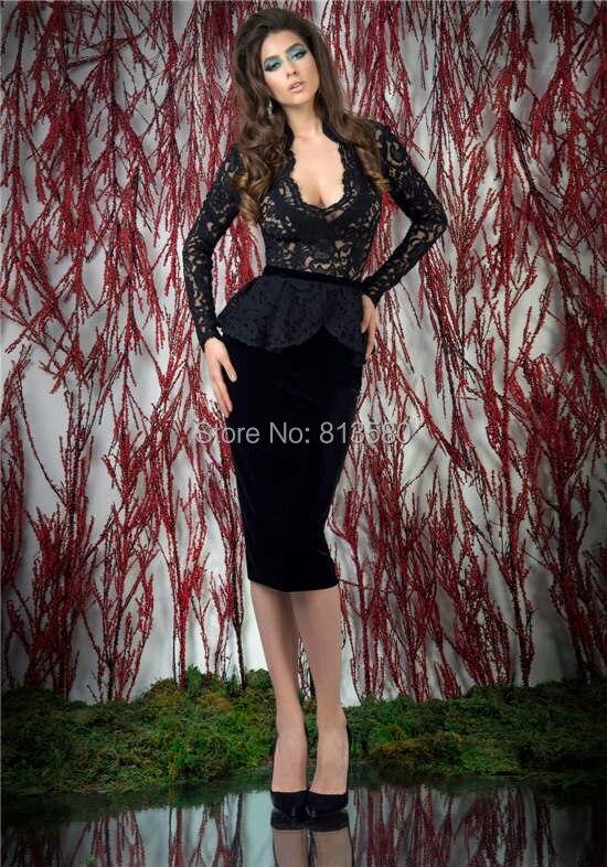 Black Knee Length Peplum Dress