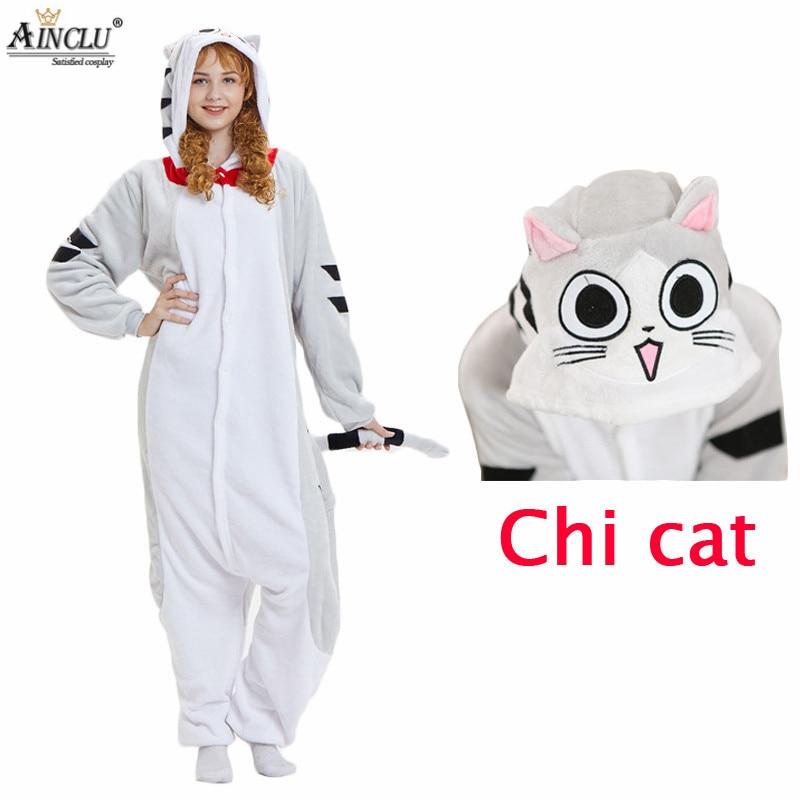 Chi Cat Pajamas Sets Flannel Pajamas Winter Nightie Cartoon Pyjamas for Women Adult Sleepwear Winter night-suit set pajamas