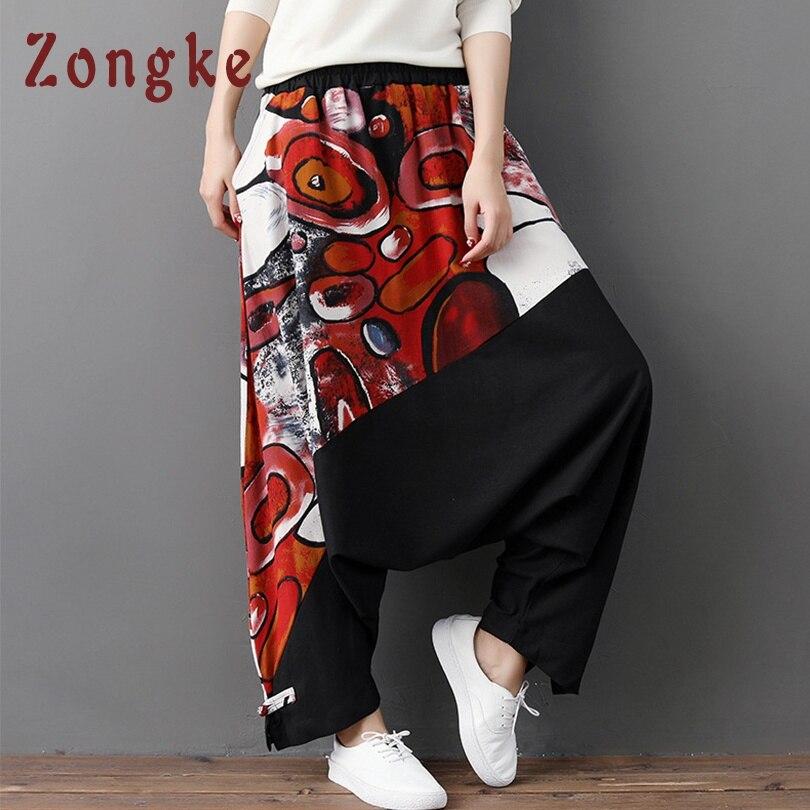 Zongke пара кросс-брюки мужские джоггеры хип-хоп спортивные брюки мужские брюки Японская уличная одежда мужские брюки повседневные один размер - Цвет: One