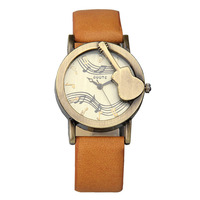 GUOTE Vintage Women Wristwatch PU Leather Quartz Watch Special Guitar Musical Notes Casual Women Watch