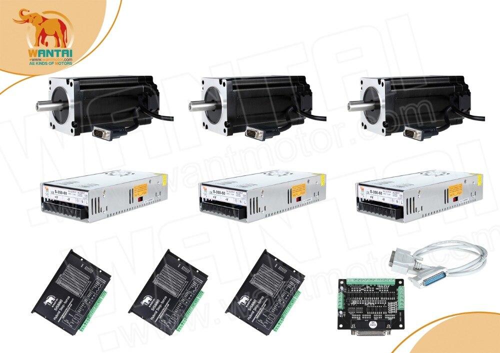 ¡Todo barco! Wantai 3 ejes Nema34 fácil servo motor circuito cerrado 6A 900N-cm (1270ozin) y controlador 8.2A SS880 + fuente de alimentación 350 w 60 v