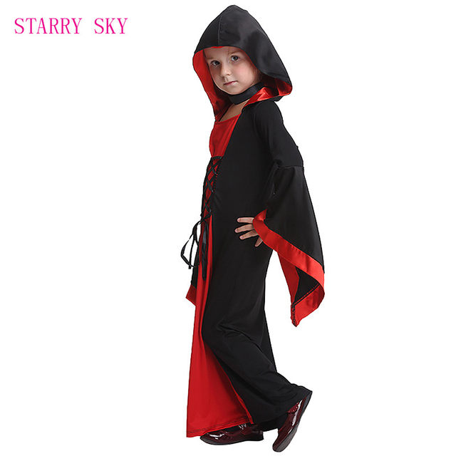 image  sc 1 st  Aliexpress & Online Shop Halloween Deluxe Kids Medieval Black Gothic Witch Long ...