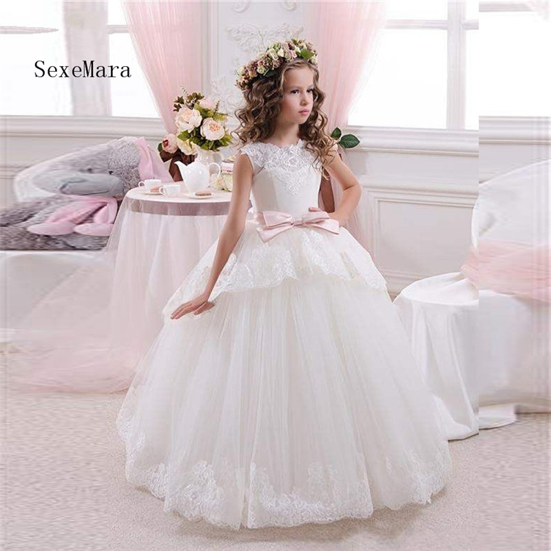 White ivory Lace Children First Communion Dresses for Girls 2018 Ball Gown with Belt Pink Elegant Flower Girl Dress 4k uhd телевизор lg 43uj639v