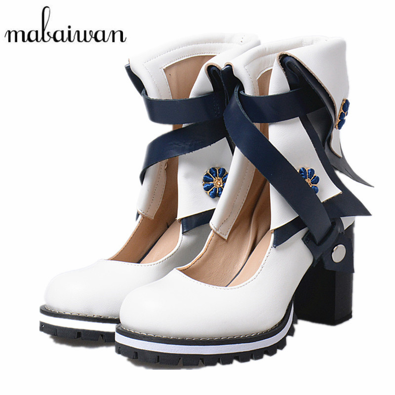 Mabaiwan Genuine Leather Women Summer Ankle Boots White Chunky High Heels Straps Botines Mujer Women Platform Pumps Shoes Woman mabaiwan straps decor women shoes genuine leather zipper ankle boots flats shoes woman military cowboy botines mujer snow boots