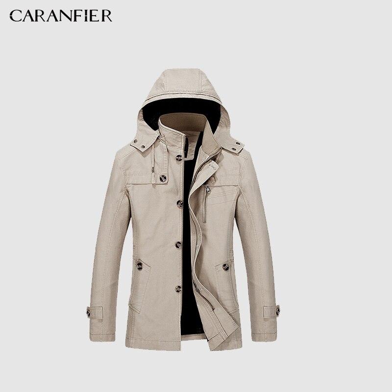 CARANFIER Marque 2018 Cotton100 % De Mode Longue Tranchée Manteau Hommes Automne Kaki Coupe-Vent Mince Veste Style Casual Pardessus