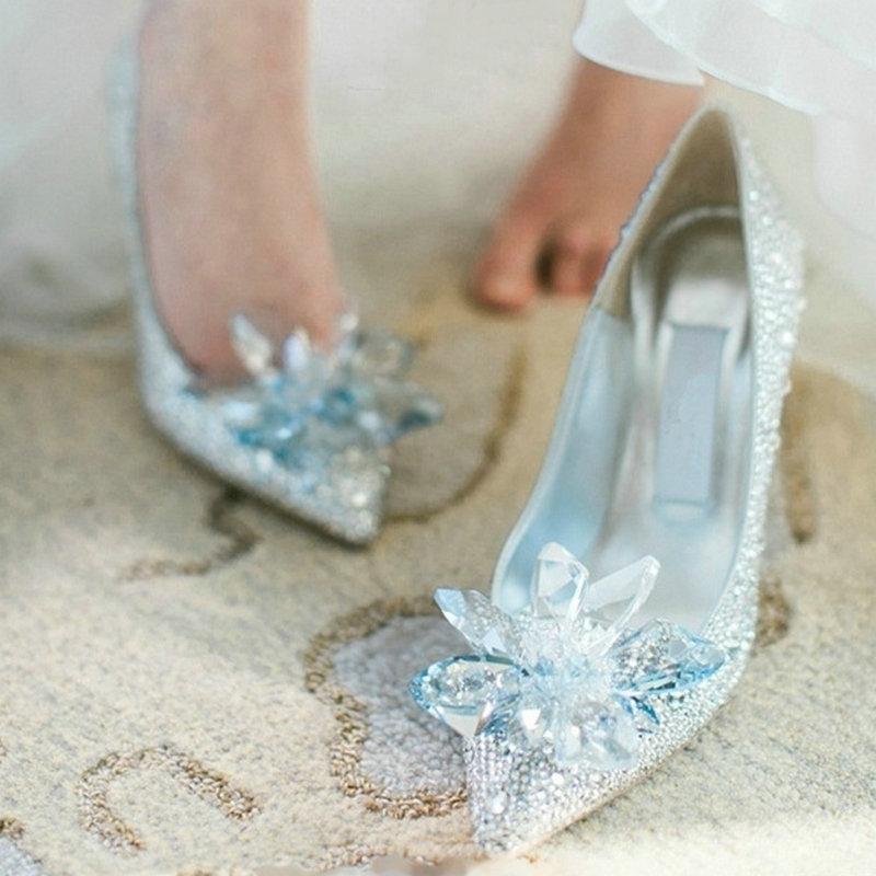 European Wedding Shoes Female Rhinestone Crystal Shoes Stiletto Pointed Red Bridal Shoes Fashion Bridesmaid High Heel