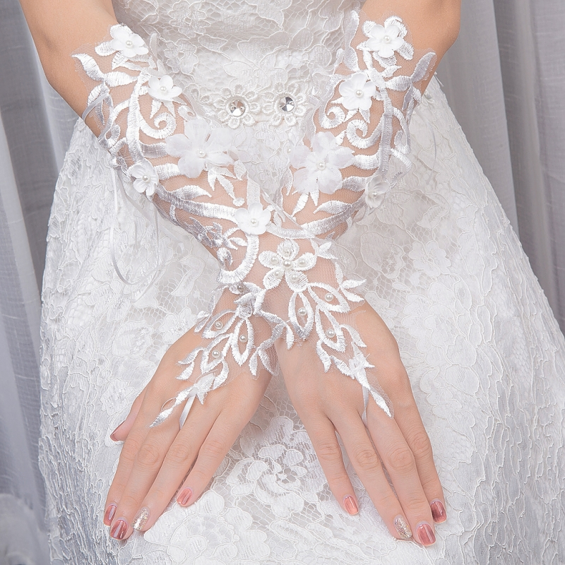 Fingerless Lace Flowers Wedding Gloves for Bride Pearls Crystal Bridal Gloves Women WY010