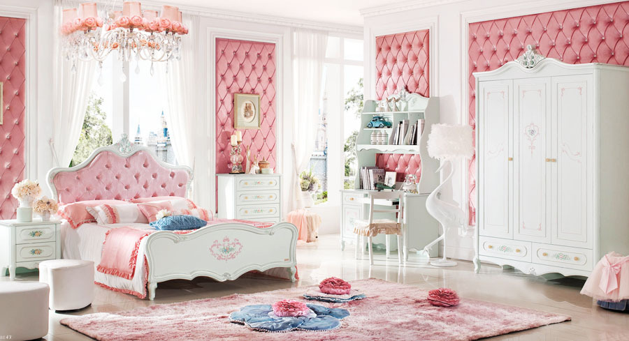 Baroque style kids bedroom set kid solid wood decorative furniture princess theme bed wardrobe Unfinished childrens bedroom furniture