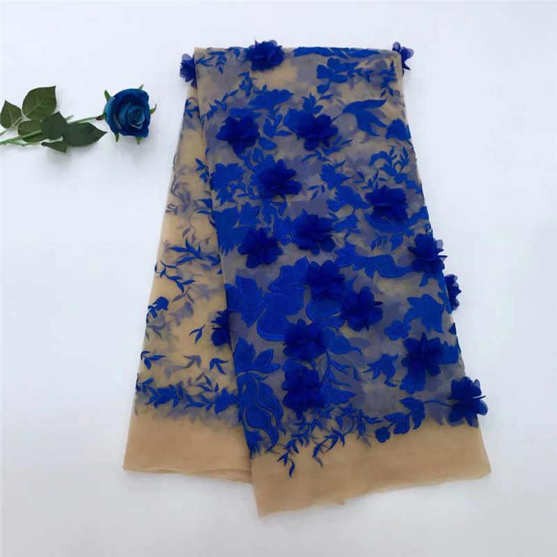 Нигерийские кружевные ткани 2018 золотые африканские королевские синие кружева ткани с 3D цветком высокое качество нигерийские кружева для свадебного платья красного цвета