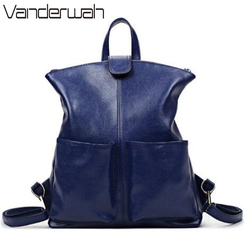 VANDERWAH Hot 2018 Women Backpack Høj kvalitet PU Leather Sac En Main School Tasker Til Teenage Girls Shoulder Bags Student Package