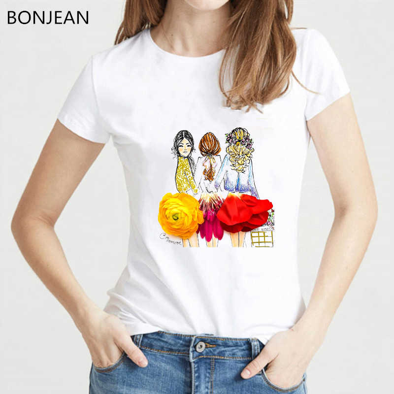 Của phụ nữ quần áo mùa hè 2019 hoa dresses và cô gái thiết kế sáng tạo t áo sơ mi phụ nữ vui vogue t áo sơ mi femme hàn quốc quần áo