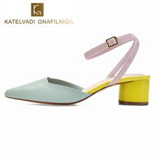 KATELVADI Sandales Femme 2019 Light Blue Square Heels Fashion Office Lady Shoes High Sandals Women K-340