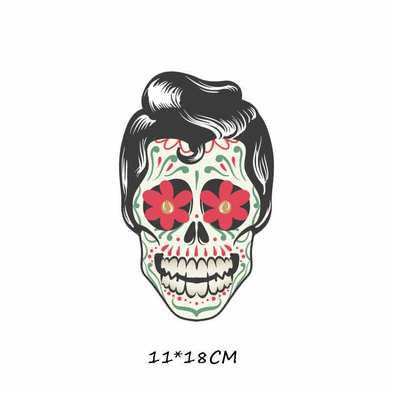 Модный Панк Череп Железный патч для одежды наклейки на футболку винил Термо Передача для одежды Diy аппликации термопресс E