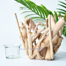 Creative manual Wooden vase flower pot Art decoration Modern home living room decoration accessories Hydroponics