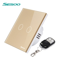 SESOO Wireless Remote Switch 220v 2 Gang 1 Way Waterproof Tempered Glass Panel Remote Control Switch