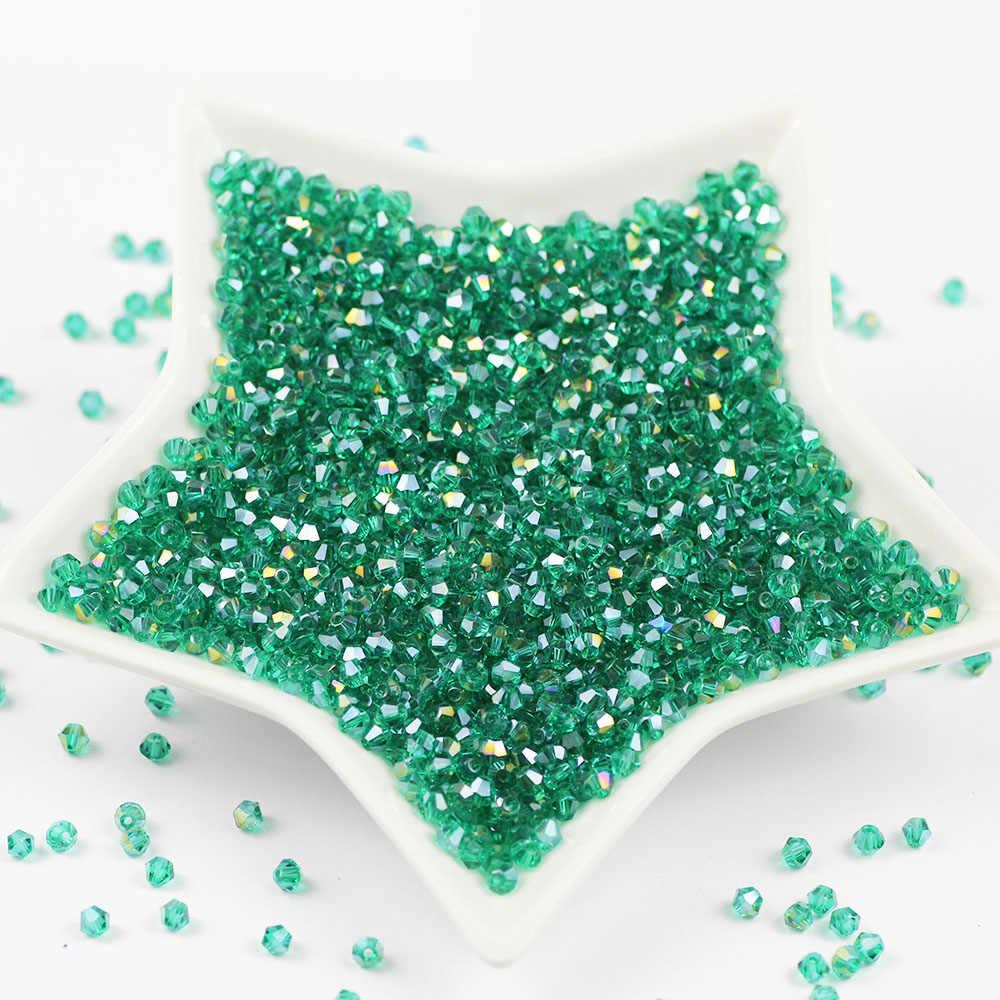 Malachit grün 100 stücke 4mm Doppelkegel Österreichischen faceted Charme Kristall Glas vorhang Lose Spacer Perlen für Schmuck Machen DIY perles