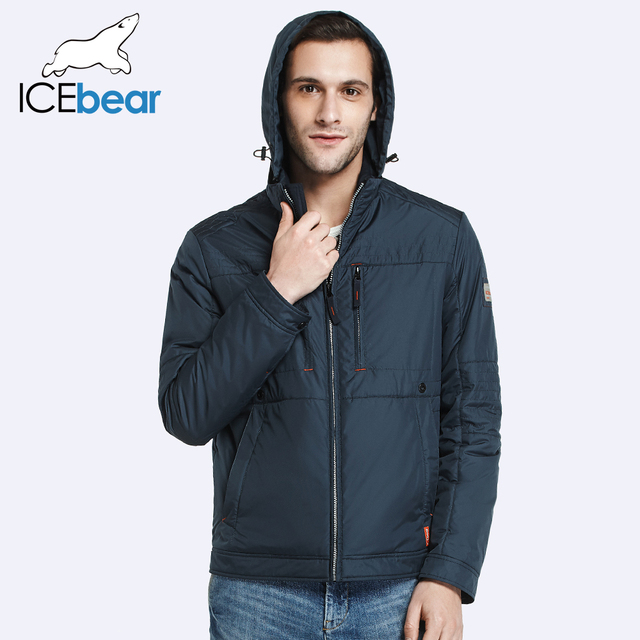 ICEbear 2017 Invisible Zipper Pocket Design Autumn Spring Fashion Brand Clothing Jacket Men Casual Men Cotton Padded 17MC207D