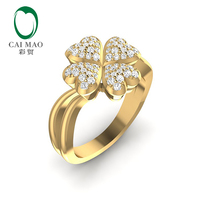 CaiMao Lady's 0.42ctw Natural Diamond 14K Yellow gold Wedding Band Ring