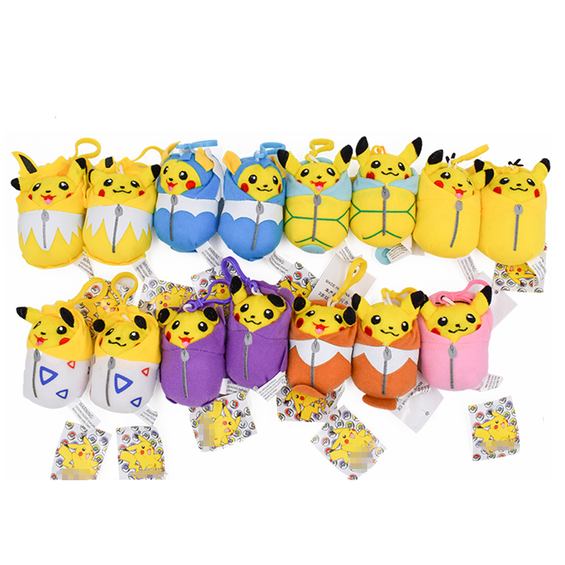Hot Toy 10cm Pikachu Plush Doll Stuffed Toy Squirtle Togepi Psyduck Doll Kid's Party Keychain Gift Plush Toys Decor Pendant Toy