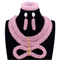 2018 Newest Jewelry Wedding Sets For Brides Pink Necklace Pendant With Gold Beads Costume Nigerian Wedding Necklace Set Fashion