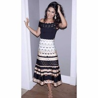 Women Sexy Hollow Out Gradient Rayon Bandage Skirt Elastic Celebrity Party A line Skirts A 33