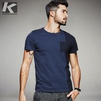 KUEGOU 2017 Summer Mens Fashion T Shirts Patchwork Blue Color Brand Clothing Man S Short Sleeve
