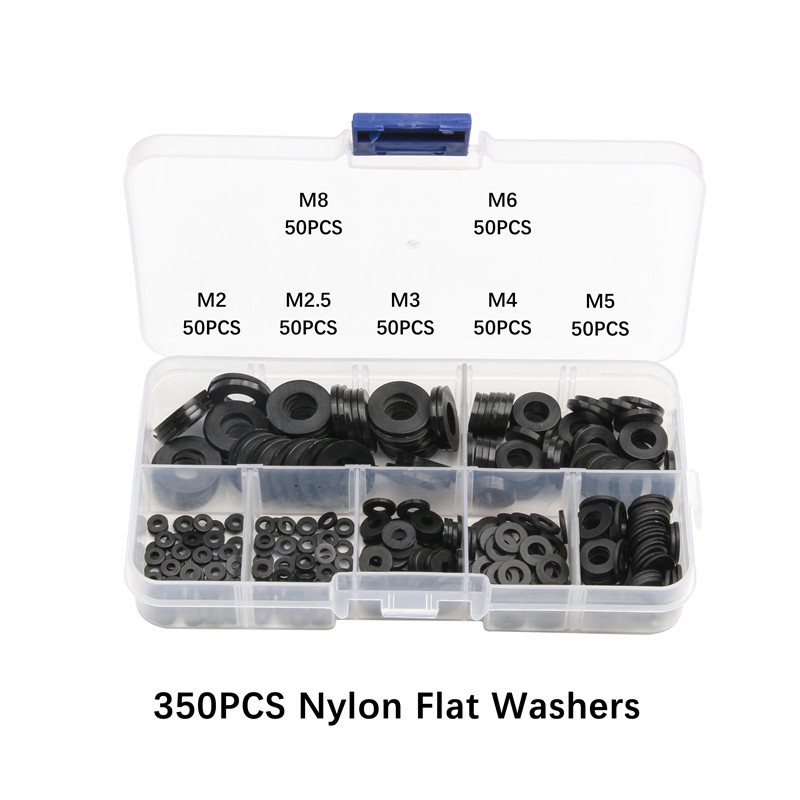 350PCS Nylon Flat Washers M2 M2.5 M3 M4 M5 M6 M8 Black Nylon Flat Spacer Seals Washer Gasket Ring Kit350PCS Nylon Flat Washers M2 M2.5 M3 M4 M5 M6 M8 Black Nylon Flat Spacer Seals Washer Gasket Ring Kit