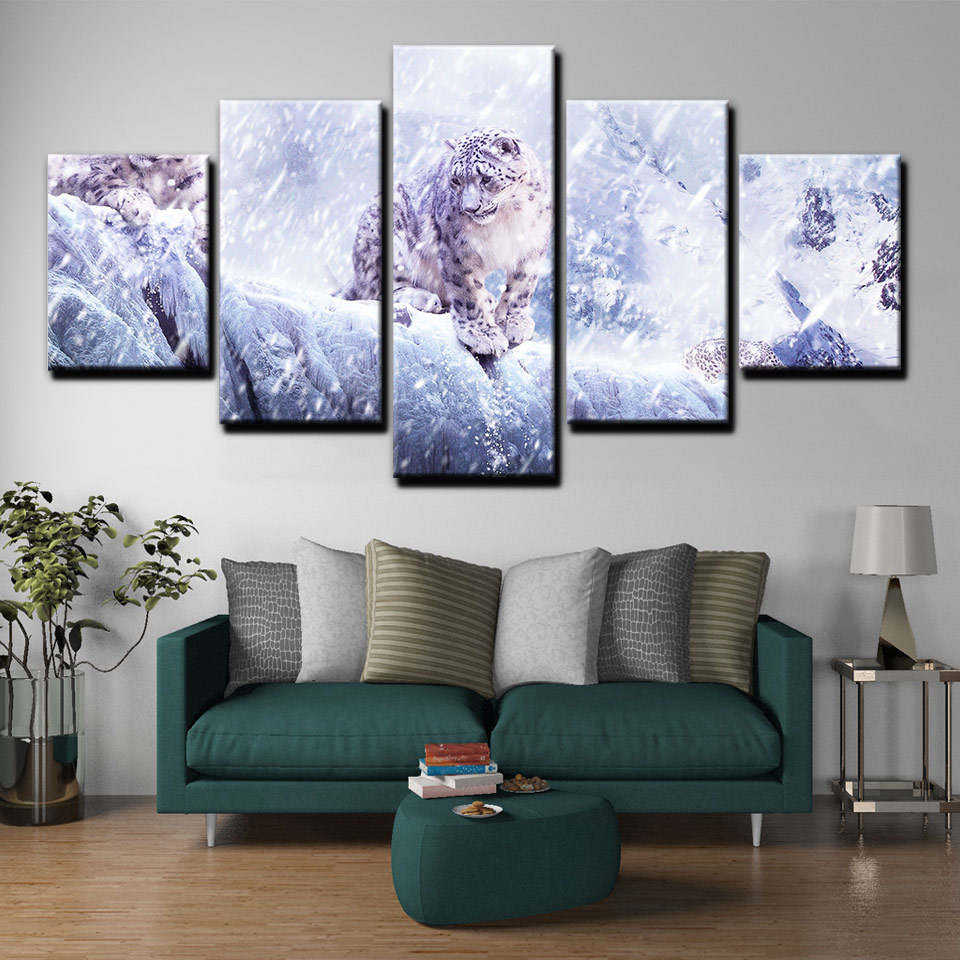 SNOW LEOPARD POSTER PRINT WALL ART NATURE IMAGE PICTURE