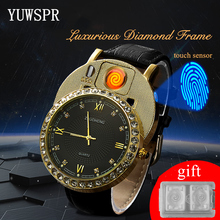 цена на Cigarette Lighter Watches Men quartz Watch USB Charging Luxury diamond dial Casual Wristwatches Windproof Lighter clock JH391-1
