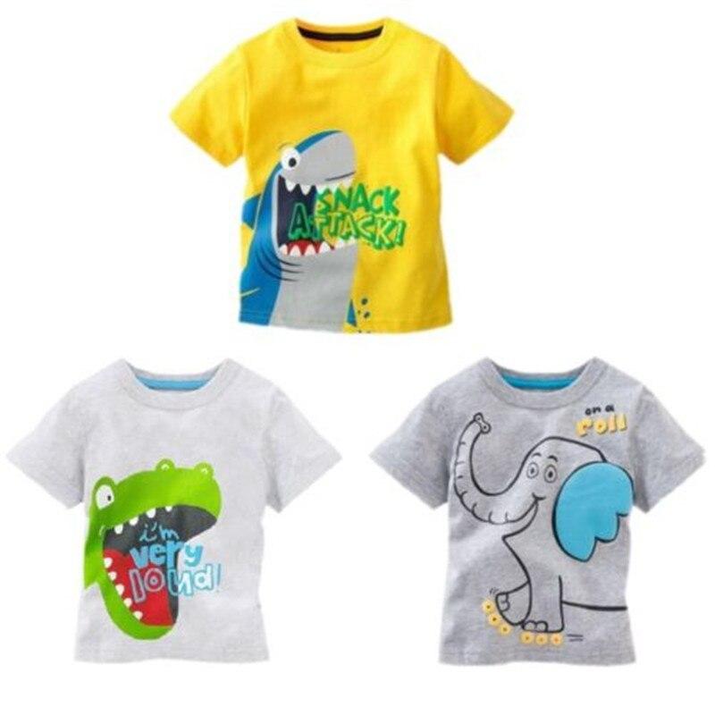 Baby Kids Cartoon Cotton T Shirts Cute Dinosaur Elephant