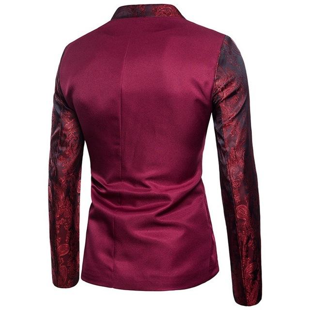2018 Men Vintage Blazer Men High Quality Suit Jacket Male Luxury Stand Collar Male Blazer Slim Fit Mens Blazer Black For Wedding