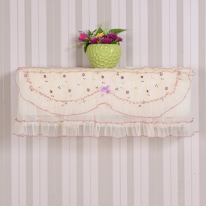 Hot Translucent Lace Cloth Embroidered Dust Proof Cover Hang Air  Conditioner Cover Sweet Home Decor 88*20*36cm 2017 2017