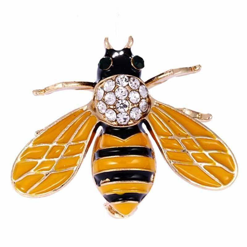 Kristal Serangga Bros Pin Bee Wanita Ant Bros Pakaian Aksesori Enamel Bros Pin Syal Gaun Kerah Dekorasi Perhiasan