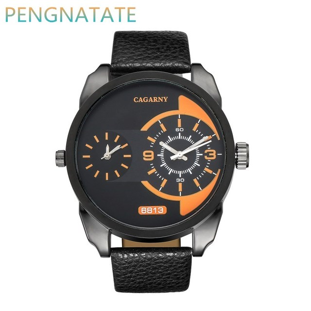 Luxury Brand Men Quartz Watch Dual Movement Watch CAGARNY Waterproof Man Sport Military Leather strap Wrist Watch PENGNATATE