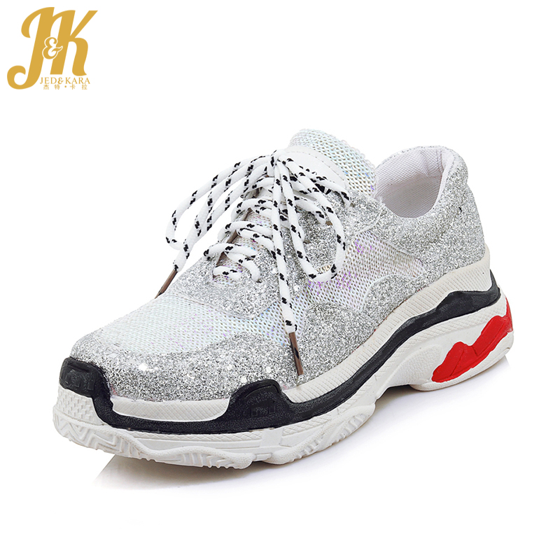 JK 2018 New Women' S Vulcanize Shoes Lace Up Bling Round Toe Platform Shoes Fashion Casual Female Sneakers Shoes Big Size 32-46 inc new bright white women s size small s tie front button up blouse $59 461